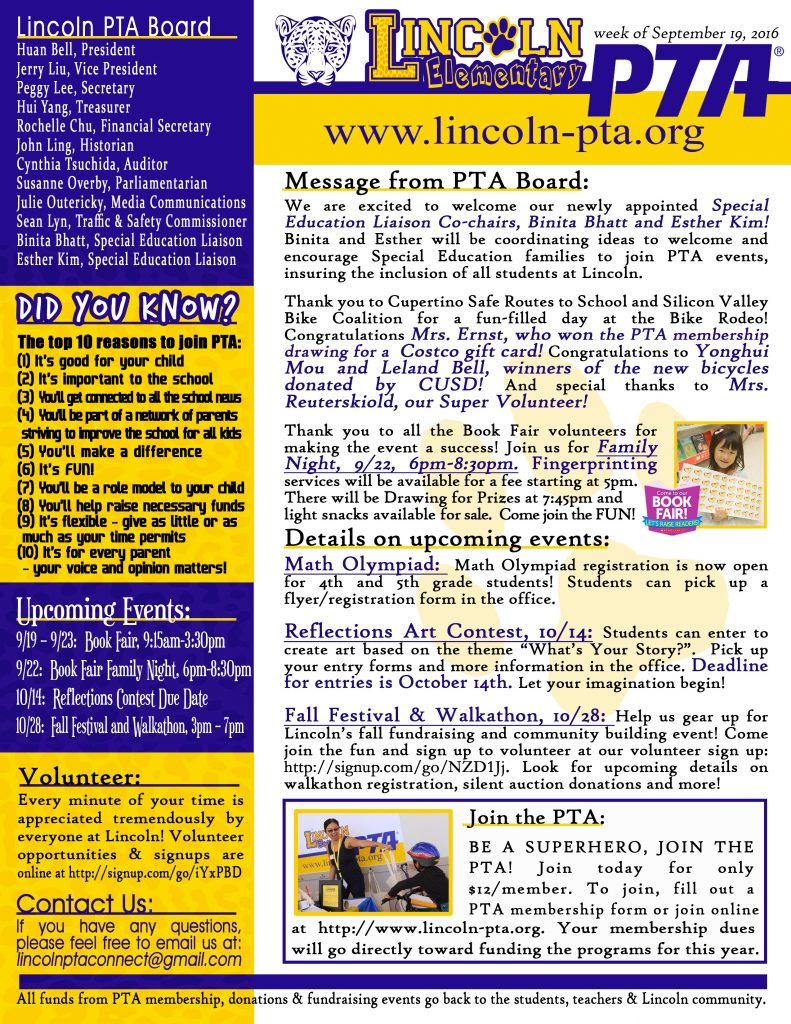 Sept 19 PTA Newsletter